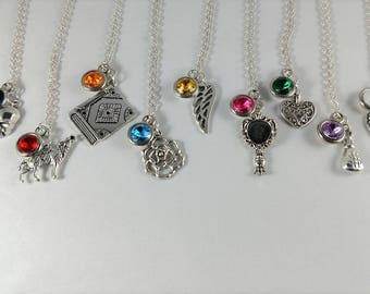 Buffy the Vampire Slayer Inspired Mini Jewel and Charm Character Necklaces - Main Cast - Buffy, Willow, Xander, Angel, Spike + More