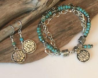 Jewelry Set, Boho Jewelry, Blue Turquoise, Sterling Bracelet and Earring Set, Lotus flower, Silver Earrings, Boho Bracelet Set, Gift Set