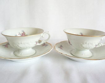 Wawel Poland Fine China Footed Tea Cup and Saucer Set of 2