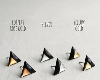 minimalist triangle studs gold dipped studs contemporary studs unique studs geometric jewelry every day stud earrings hypoallergenic posts