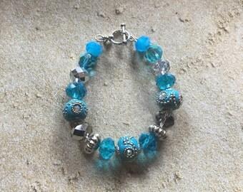 Blue Statement Bracelet, Glass Beaded Bracelet, Beadwork Bracelet, Beaded Bracelet, Womens Jewelry