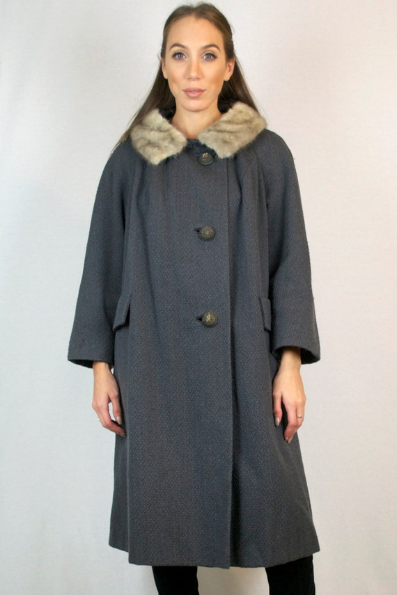 Vintage 1940s Silver Mink Fur Trim & Virgin Wool Coat + FREE GIFT with PURCHASE