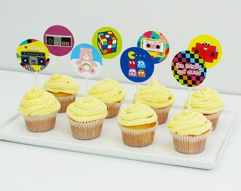 80s Cupcake Toppers, 80s Cake Topper, 80s Party Decorations Printable | INSTANT DOWNLOAD