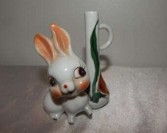 Vintage 50s big eye bunny rabbit figurine bud vase mini bud vase tropical fish