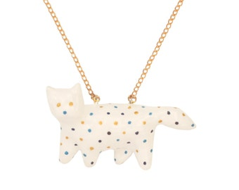 Fat Cat Necklace ,White with dots, lucky cat necklace, Collar Gato Gordo, Hand made