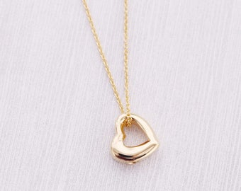 Gold Open Heart Memorial Pendant - Cremation Jewelry - Engraved Jewelry - Urn Necklace - Pet Memorial - Ash Necklace