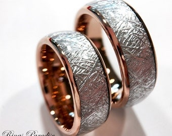 Wedding Bands Blue Meteorite Inlay Rings His And Her
