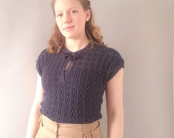 1940s Navy knit sweater with ties - 40s bow sweater - 1940s top - cotton knit sweater - summer 1940s knitwear
