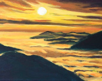 Peaceful meditation panorama painting on canvas- mountain morning sunshine art-original painting-yellow black wall décor-nature clouds