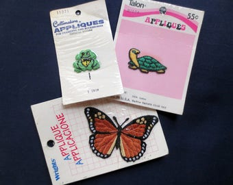 Three Small Vintage Appliques in Packages, Frog, Turtle, Butterfly