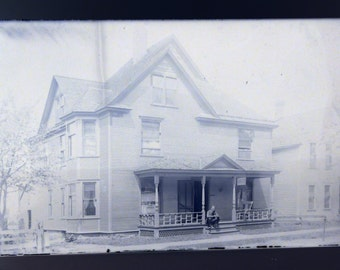 Victorian Homestead Antique Large House with Porch Photograph Glass Plate Photo Negative