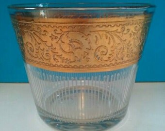 Gorgeous Vintage Starlyte Glass Ice Bucket, 1960s Ice Bucket, Gold Embossed, Starlyte, Vintage, Ice Bucket, Retro Barware.