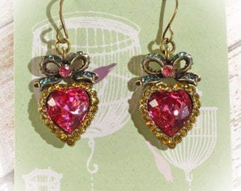 Romantic Victorian Style Pink Crystal Heart & Bow Dangle Earrings 1.5 inches long