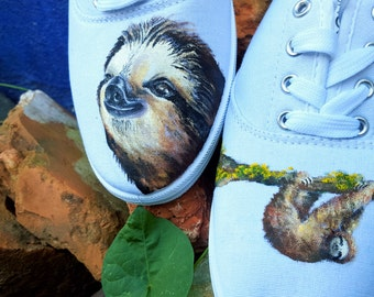 Sloth Portrait Hand Painted Shoes