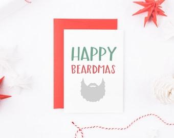Christmas Beard Card, Happy Beardmas, Santa Beard Card, Christmas Beard Card, Merry Beardmas Card, Christmas Card For Him, Card For Husband