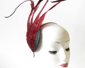 Statement Red Black Pheasant Feather Fascinator Races Vintage Headpiece 40s 1466