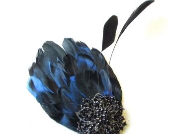 Blue Black Diamante Feather Hair Clip Fascinator Races 1920s Vintage Ascot 1492