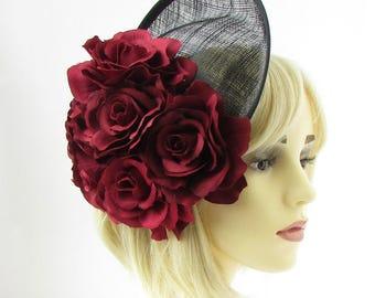 Large Burgundy Red Flower Black Saucer Disc Fascinator Hat Races Headband 2248