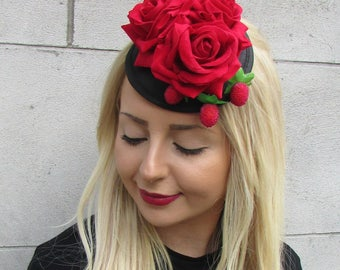 Black Red Rose Strawberry Hat Headpiece Fascinator Rockabilly 1950s Races 1605