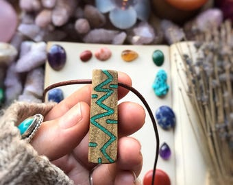 Turquoise inlaid Upcycled Montana Black Walnut Necklace, Ooak, Crystal, Unique, Boho, Primal Montana, Tribal, Boho, Festival