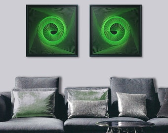 3D String Art Set in Apple Green - Abstract Zen Wall Art - UV Art Wall Decor - Sacred Geometry Psyart - Special Anniversary Gift for Him Her