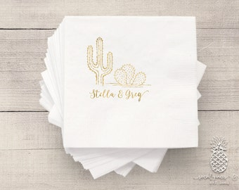 Wedding Party Napkins | Personalized Napkin | Cactus Napkins