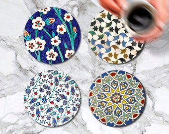 Marble Coasters Moroccan and Turkish Set of Coaster Glass Coasters Kitchen Decor Housewarming Gift Accessories Bar Drink Coasters Mom Gift