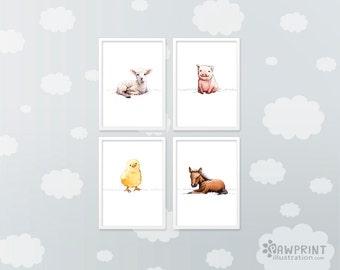 Set of 4 Nursery farm animal prints, animal nursery art, nursery décor boy, nursery décor girl, baby gift, baby shower gift, new baby gift,