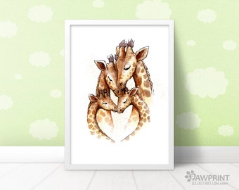 Giraffe Family Nursery Art Print - Twins Brothers Sisters - 4 Sizes Available