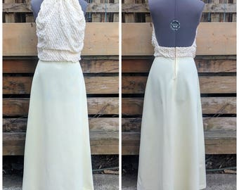 Vintage 60s Miss Junior Creations Nu Lines Pale Butter Yellow Halter Full Length Evening Gown 100% Polyester