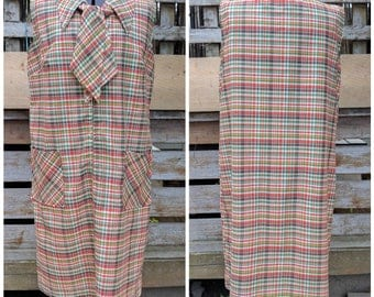 Vintage 1960's Rainbow Plaid Front Pocket With Tie Mod Dress Cotton Polyester Blend