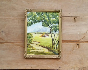 Vintage landscape on board/ oils/ lime greens with gold frame/ naiive and charming