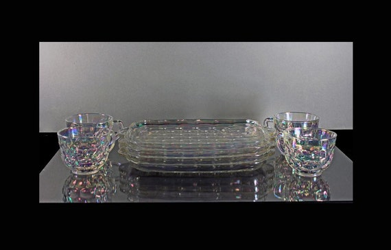 Iridescent Snack Set, Trays and Cups, Federal Glass, Colonial Pattern, 8 Piece Set, Luncheon Set, Pressed Glass, Original Box