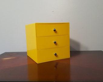 Vintage Mid-Century Jewelry Box Made by Pala of Finland / Yellow Storage and Organization Box / Three-Drawer / Danish Modern Retro