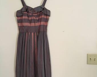 Vintage 1950s Iridescent Party Dress - Cotton Strapless Dress - Stripe Cotton Party Dress - 1950s Full Skirt