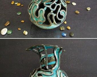 Raku pottery turquoise ceramic vase, pierced vase, art deco vase, coastal decor, ceramic art, flower vase, personalized vase, pottery vase