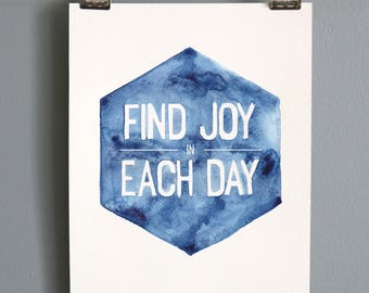 "Find the Joy Watercolor - 8""x10"""