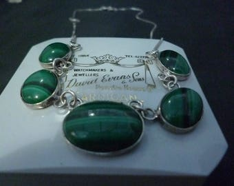 """A lovely silver and malachite necklace - 925 - sterling silver - 16"""""""