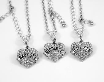 3 sisters Necklace Set Baby sis Middle sis and big sis Necklace Sisters Jewelry  3 Charm Sisters Gift Best Jewelry Gifts 3 charm necklaces