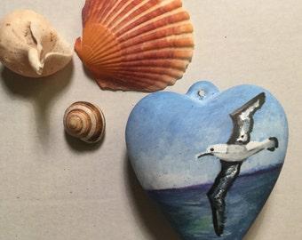 Unique Hand painted decoration - seagull, seaside, sunshine , seashore, coastal