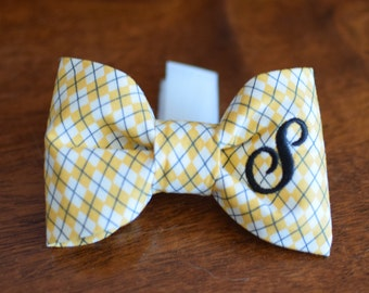 Dog Bow Tie Black & White Argyle || Personalized Preppy Bowtie || Custom Gift by Three Spoiled Dogs