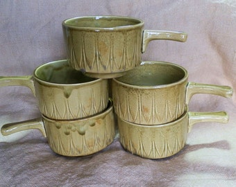 Set of Five Retro 1960's Khaki Green Soup Bowls with Handle, Made in England