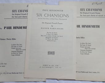 Three Pieces of 1930's and 1940's PAUL HINDEMITH SONGS Sheet Music Four-Part Chorus - En Hiver, La Ciche and Lady's Lament