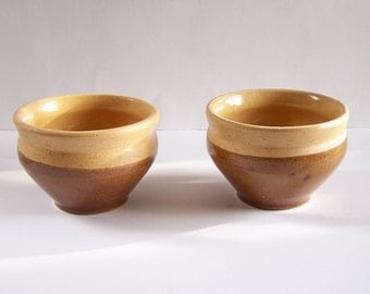 Sandstone bowls pair of high glazed stoneware bowls onion soup bowl vintage  Made in France