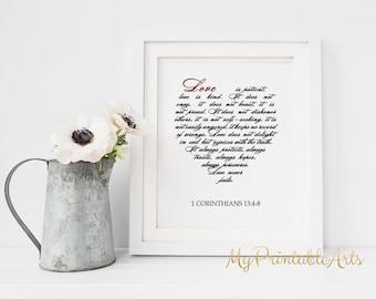 Love is patient, Love is kind sign, Bible Verse Print, 1 Corinthians 13 : 4-8, Bible Print, Bible Art, Scripture Printable, Christian Print