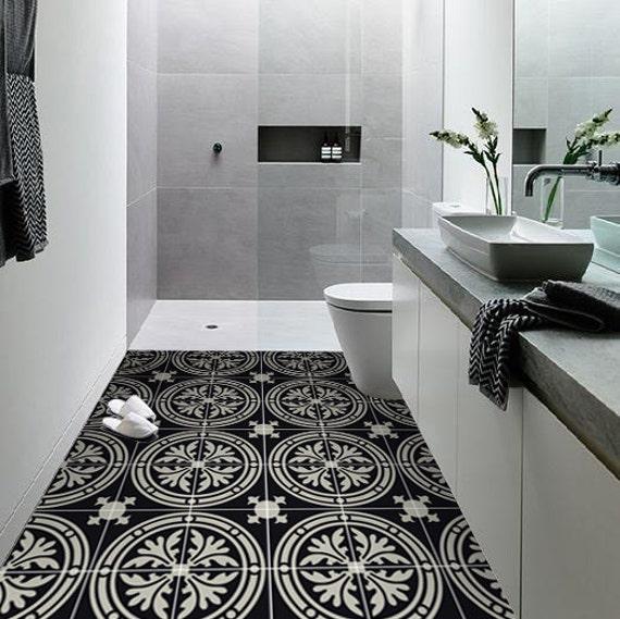 vinyl floor tile sticker floor decals carreaux ciment encaustic barolo tile sticker pack in. Black Bedroom Furniture Sets. Home Design Ideas