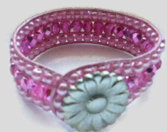 Pink Pearl  Leather Cuff , 3 Row Wrap Bracelet, Beaded Leather Cuff, Pink Pearl Bracelet with Czech Crystals
