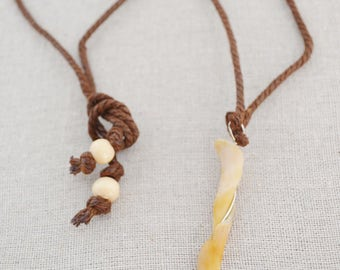 Necklace Shell Pendant, Shell on Hemp, Shell Shard on Hemp Necklace, Hemp Necklace, Shell Necklace