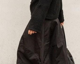 Black Skirt - Cotton Skirt - Black Midi Skirt - Wide Black Skirt - Tulip Black Skirt - Large Skirt - Minimal Skirt - Modern Skirt - Midi