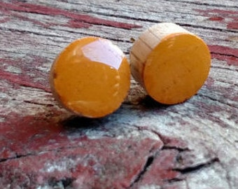 Mustard yellow wood stud/faux plug earrings